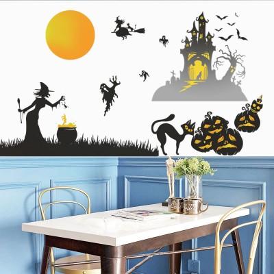 Halloween Witch Giant Wall Sticker Festival Day Shop Window Decoration