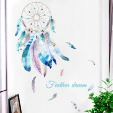 Dream Catcher Wall Decals Colourful Feather Wall Stickers Peel and Stick Removable Art Mural for Bedroom Kids Room Nursery Living Room Office Home Decoration