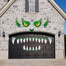Halloween Monster Face Door Stickers Decorations, Outdoor Garage Door Archway Windows Scary Decals Party Decoration with Eyes Teeth Cutouts and Double-Sided Stickers