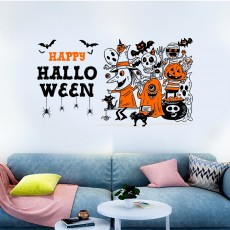 Halloween Party Wall Cartoon Witch Decoration Removable DIY Wall Art Decor Decals for Home,Haunted House