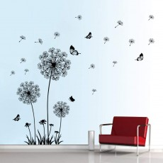 Decalmile Wall Stickers Dandelion and Butterfly Wall Sticker Bedroom Living Room Office Wall Decor (Black)