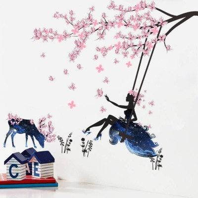 Girl on A Swing & Moose Silhouette Wall Stickers with Pink Butterflies Wall Sticker Home Decoration Removable DIY Vinyl Mural Art Decals for Living Room, Bedroom
