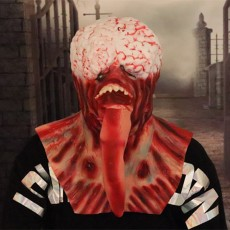 Scary Costume, Horror Long Tongue Brain Burst Costumes for Halloween Red
