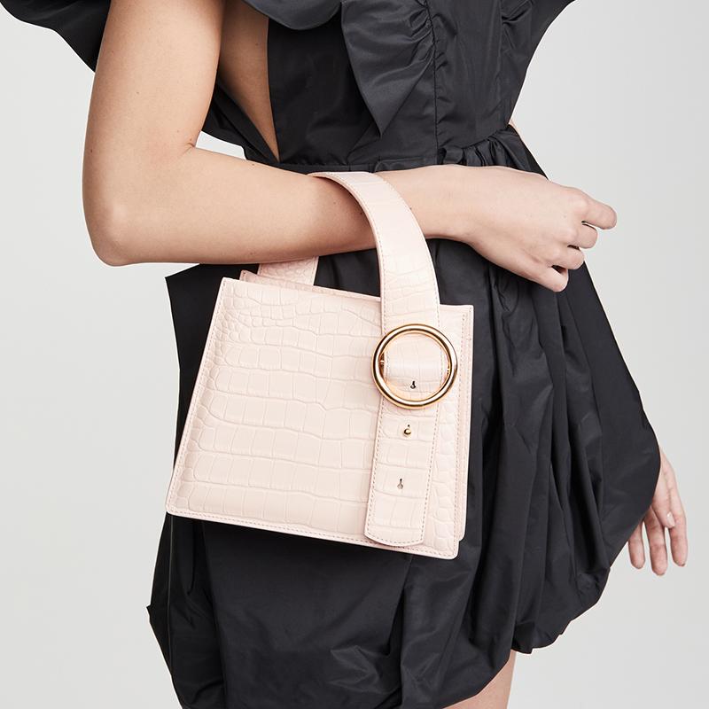 High pole pink crocodile pattern handbag 1