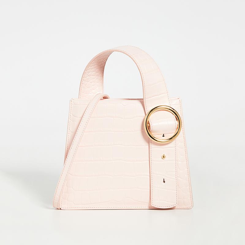 High pole pink crocodile pattern handbag 3
