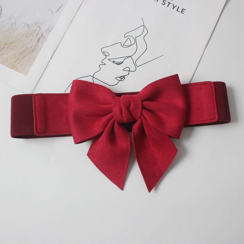 Sweet elastic elastic flannel three-dimensional bow tie waist belt 4