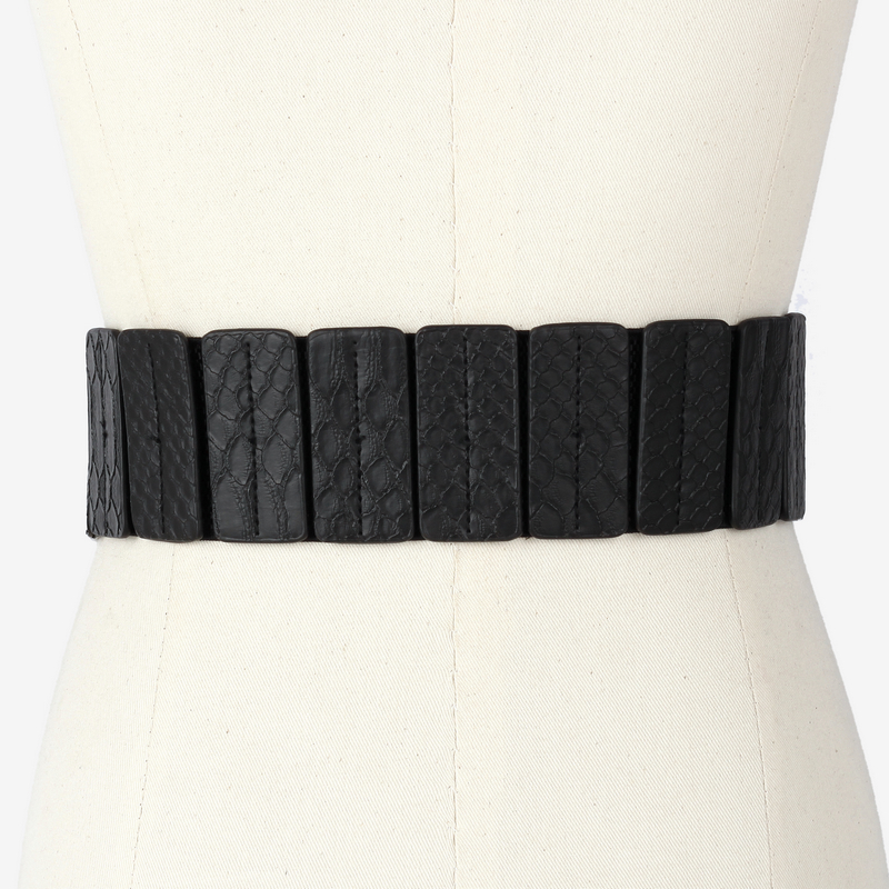 Decorative sweater elasticated black shirt wide belt 2