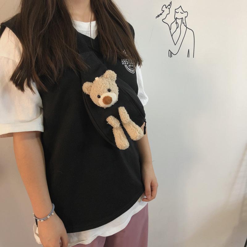 Vintage sense girl bear chest bag female 2