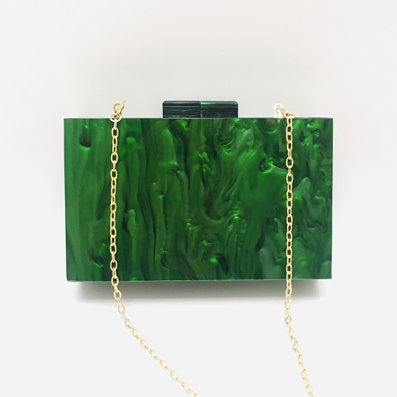 Pearlescent Green Acrylic Small Square Box Clutch 1
