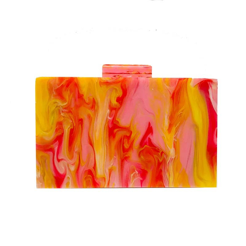 Acrylic pink orange oil painting small square box bag clutch 2