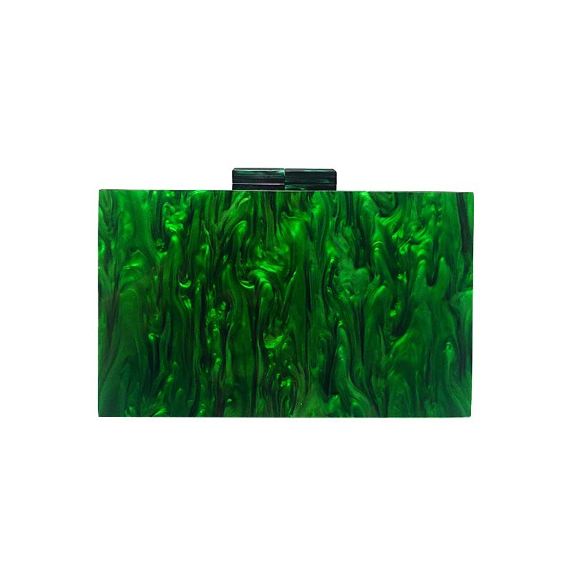 Pearlescent Green Acrylic Small Square Box Clutch 0