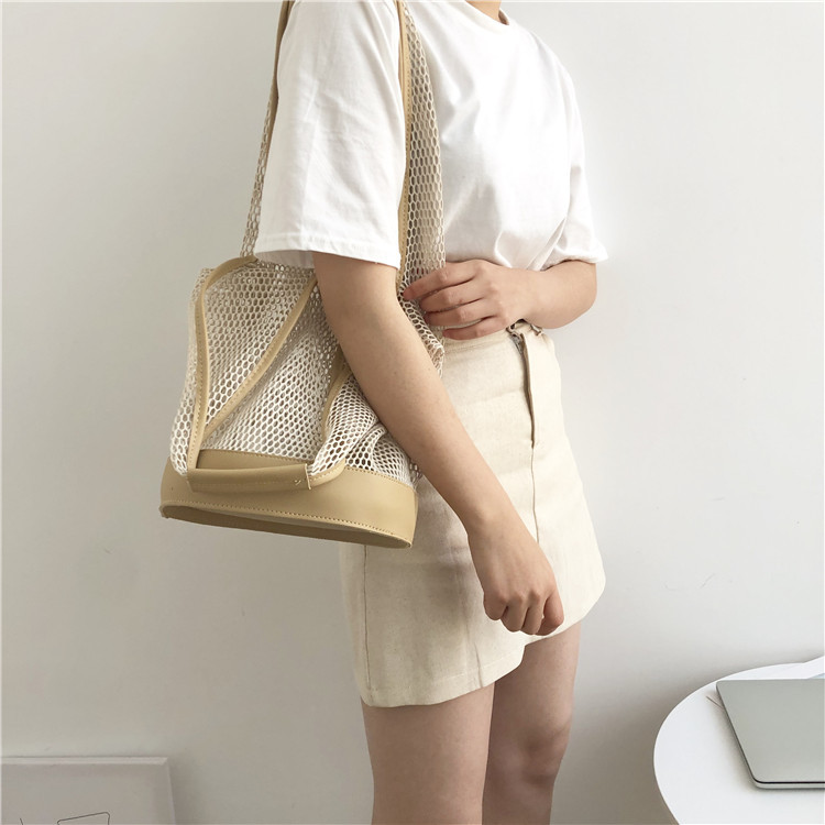 Casual shoulder temperament summer portable net bag 2