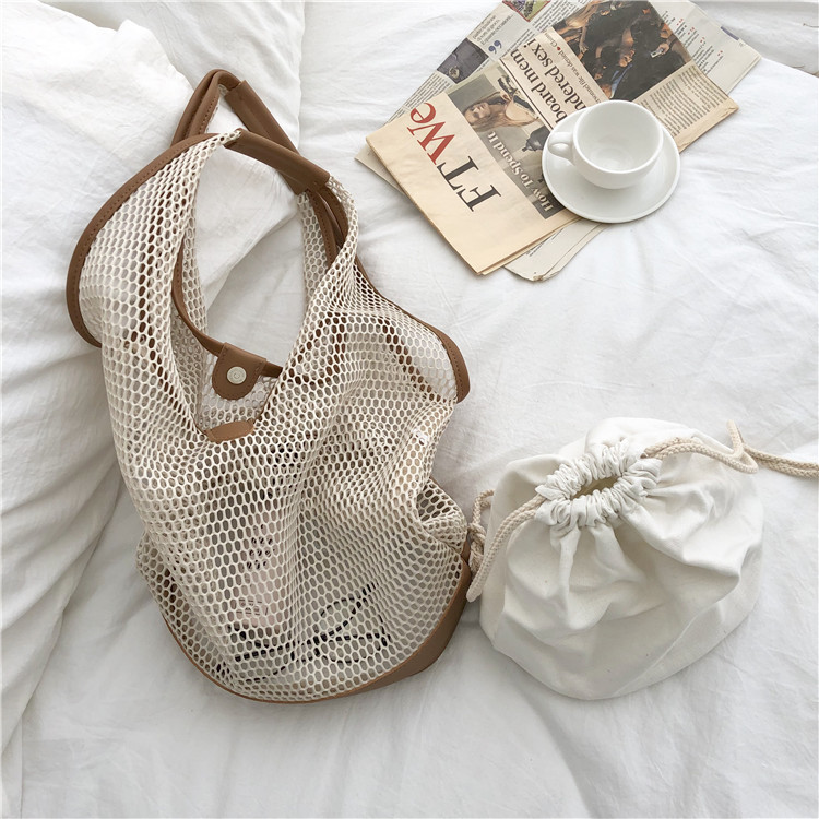 Casual shoulder temperament summer portable net bag 5
