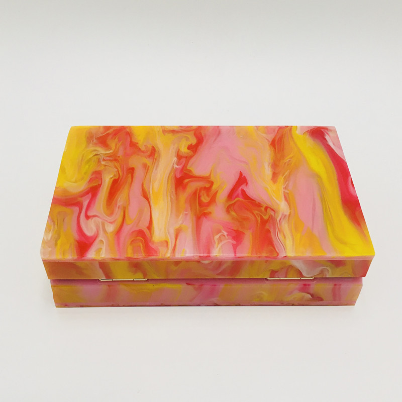 Acrylic pink orange oil painting small square box bag clutch 5