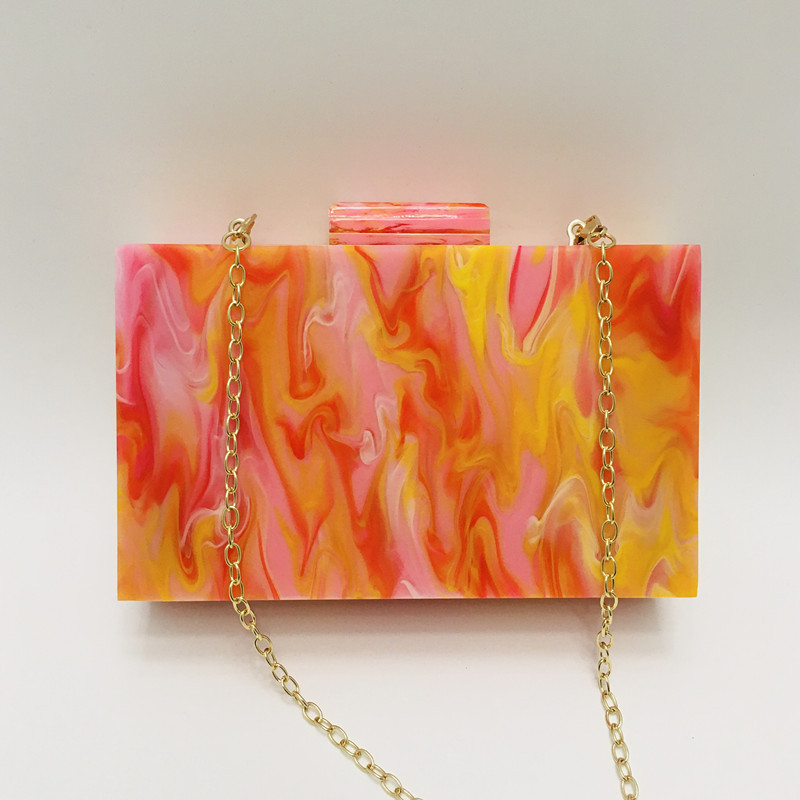 Acrylic pink orange oil painting small square box bag clutch 3