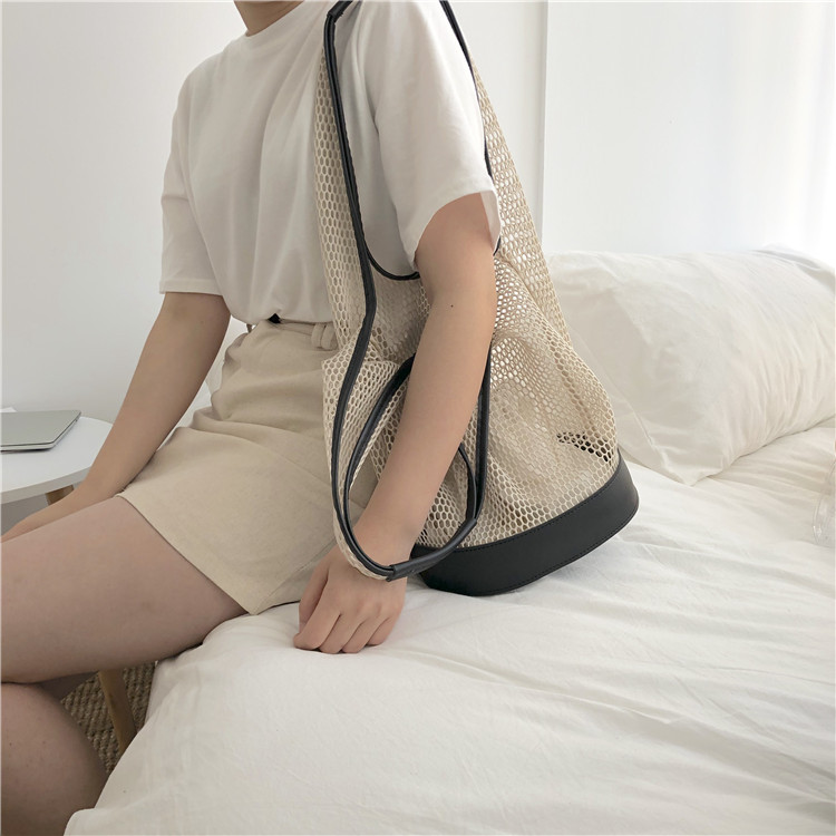 Casual shoulder temperament summer portable net bag 3