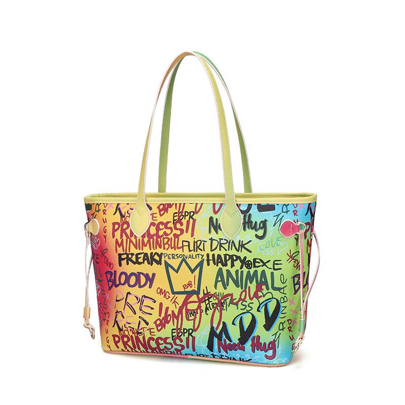 Tote bag female luggage large capacity hand-painted graffiti bag fashion handbag 0