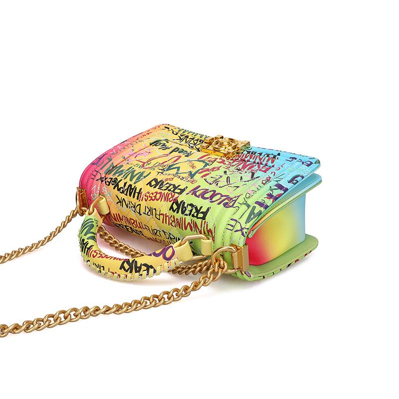 Women's Bag Fashion Handbag Lingge Chain Bag Color Graffiti Bag 2