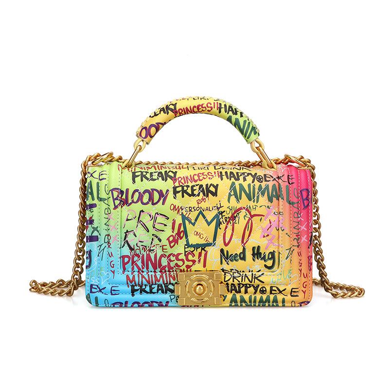Women's Bag Fashion Handbag Lingge Chain Bag Color Graffiti Bag 0