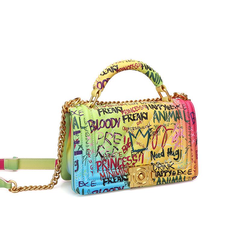 Women's Bag Fashion Handbag Lingge Chain Bag Color Graffiti Bag 1