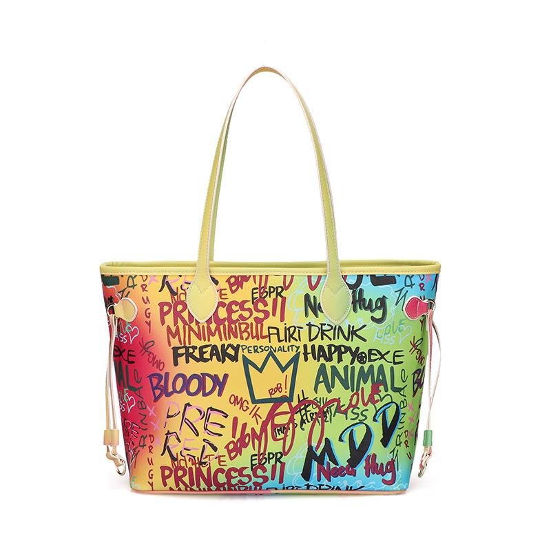 Tote bag female luggage large capacity hand-painted graffiti bag fashion handbag 2