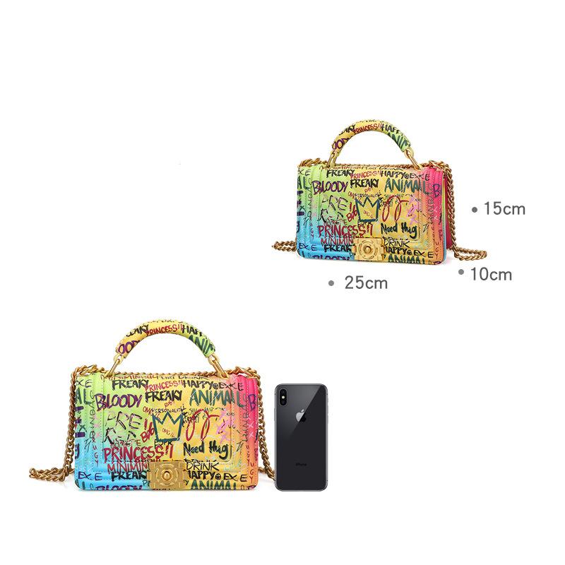 Women's Bag Fashion Handbag Lingge Chain Bag Color Graffiti Bag 4