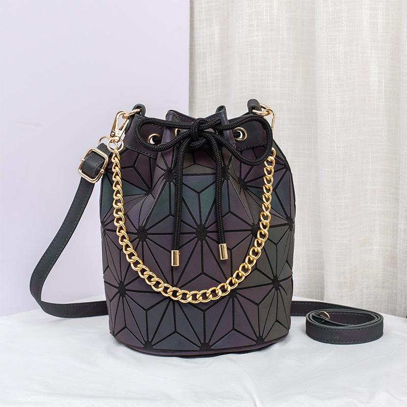 Casual luminous bucket bag rhombus women's shoulder bag 3