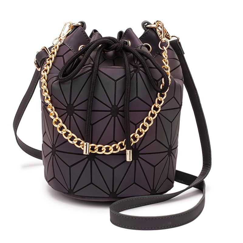 Casual luminous bucket bag rhombus women's shoulder bag 2