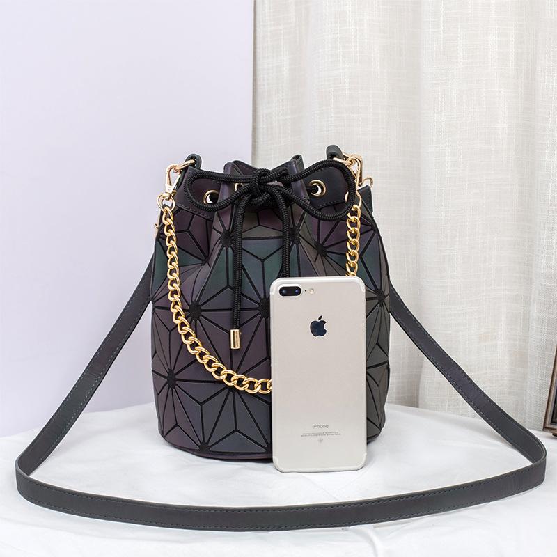 Casual luminous bucket bag rhombus women's shoulder bag 1