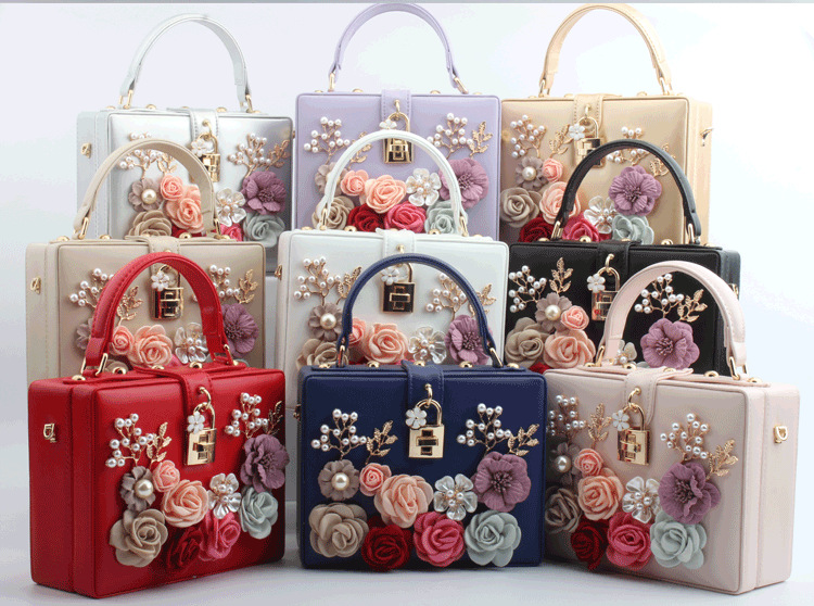 European and American summer new product fashion lock hand-inlaid flower portable small square bag Trendy fashion banquet ladies bag 2