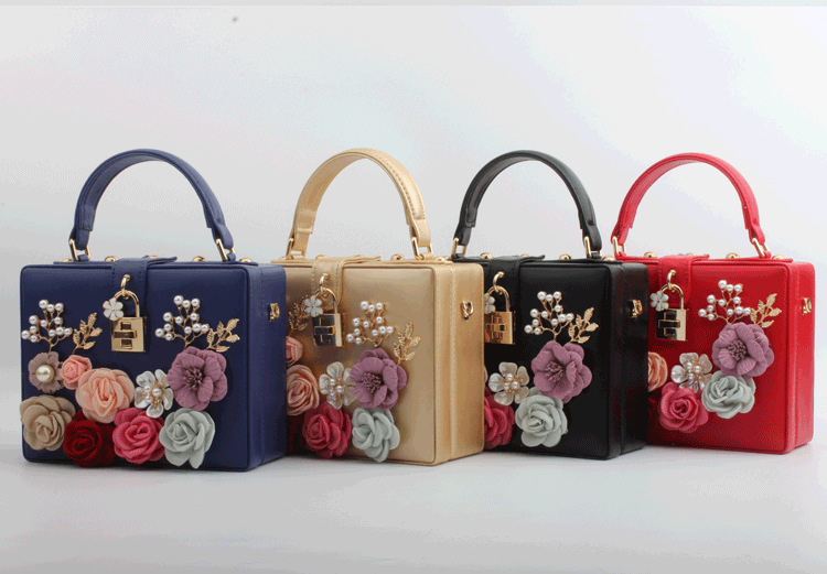 European and American summer new product fashion lock hand-inlaid flower portable small square bag Trendy fashion banquet ladies bag 1