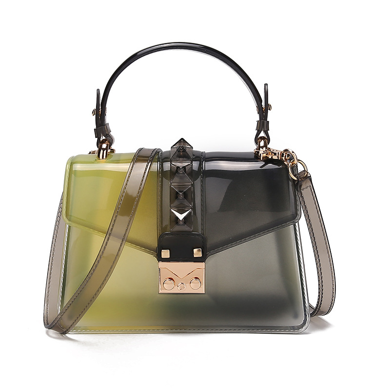 2020 new fashion trend handbag gradient transparent jelly bag rivet bag color one shoulder messenger small square bag 4