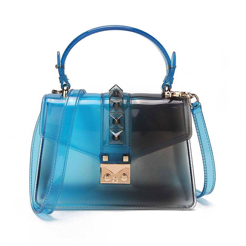 2020 new fashion trend handbag gradient transparent jelly bag rivet bag color one shoulder messenger small square bag 2