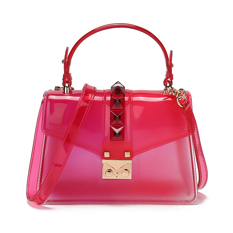 2020 new fashion trend handbag gradient transparent jelly bag rivet bag color one shoulder messenger small square bag 3