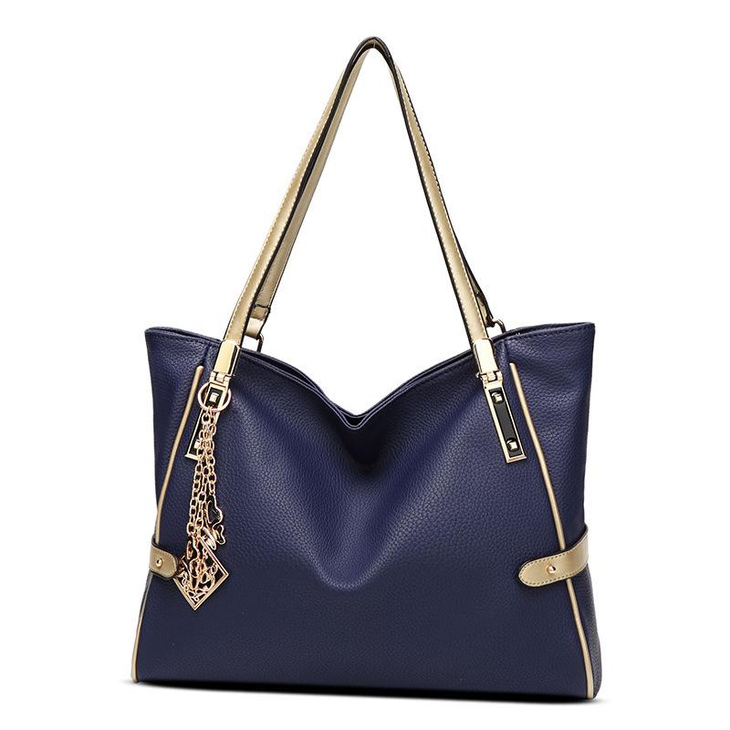 Female bag ornaments hit color European and American fashion shoulder bag big bag lady portable messenger large capacity bag 0