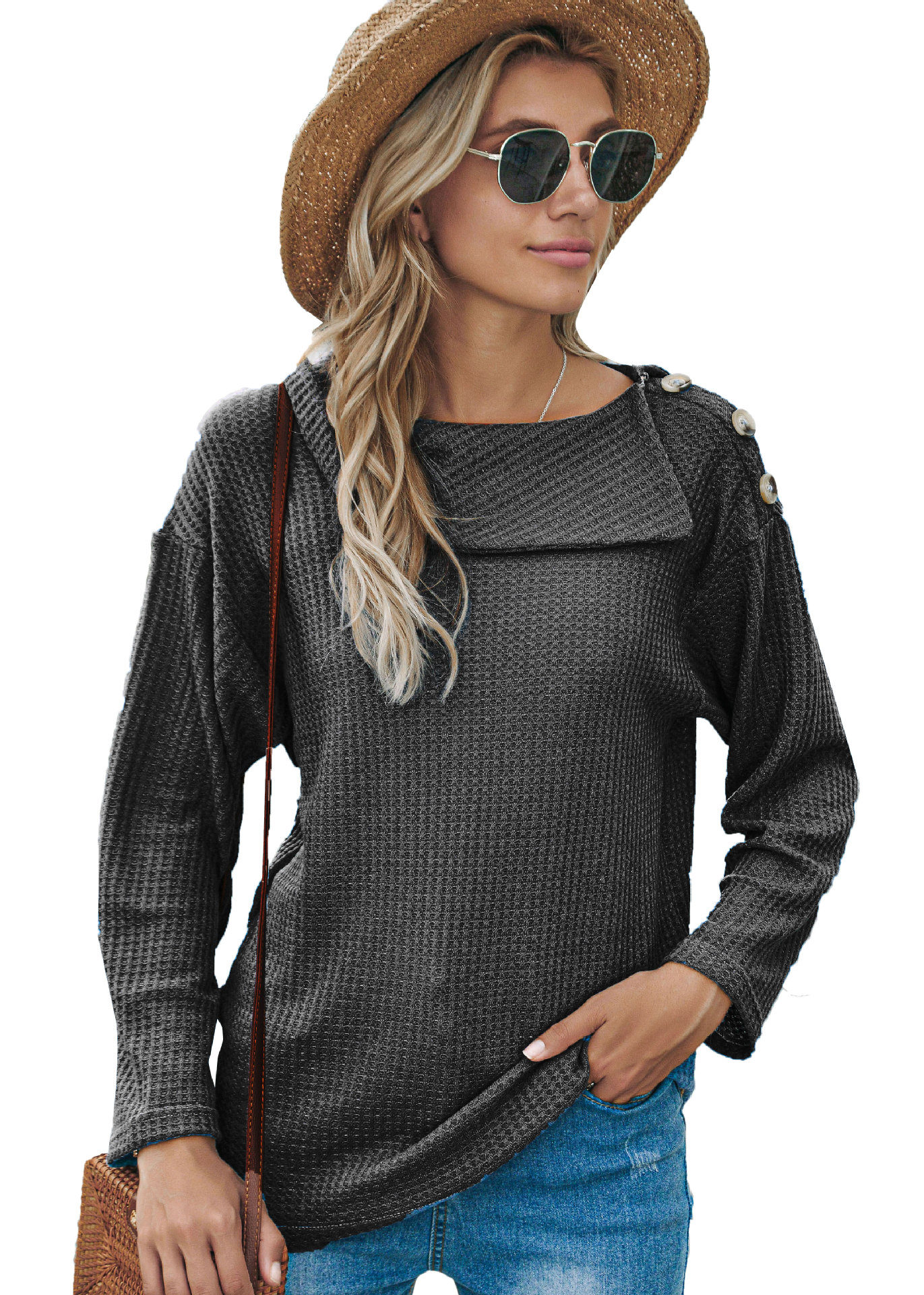 Fall/winter women's hot style, a shoulder button fashion sweater T-shirt long-sleeved top 1