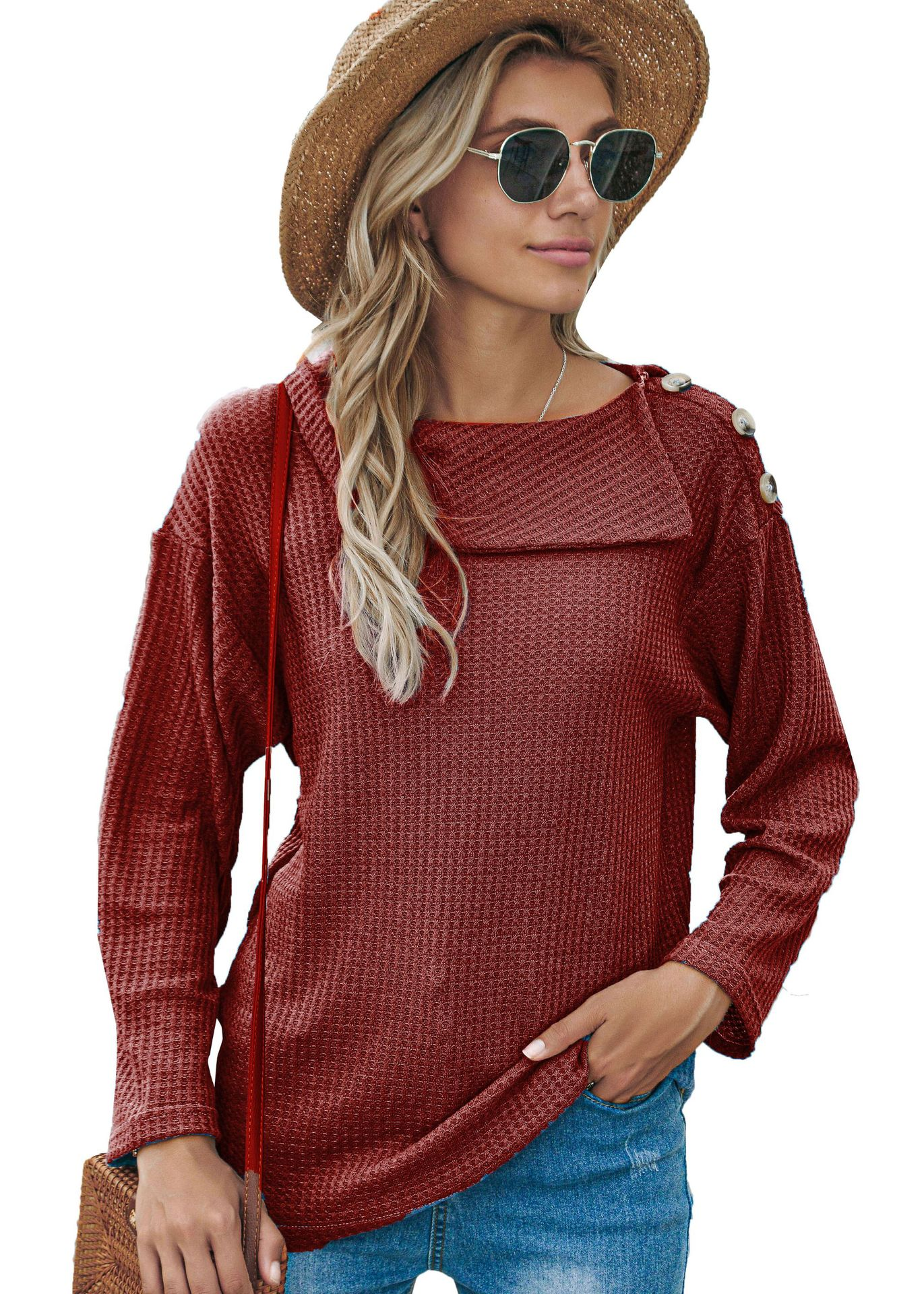 Fall/winter women's hot style, a shoulder button fashion sweater T-shirt long-sleeved top 2