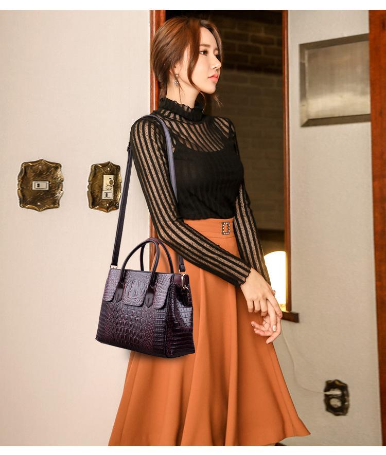 Female bag 2020 new European and American fashion ladies bag crocodile pattern shoulder messenger handbag female big bag 6