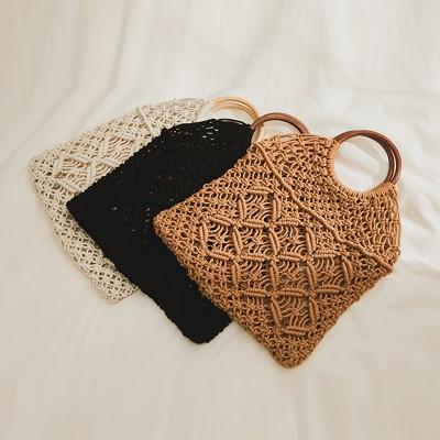 Hand-woven openwork tote bag