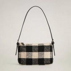 Vintage black woven plaid handbag