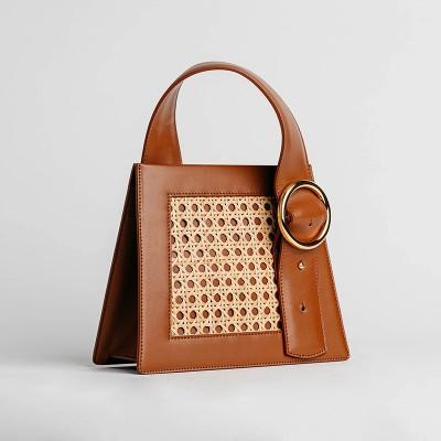 High pole pink crocodile pattern handbag