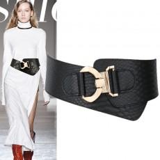 Decorative sweater elasticated black shirt wide belt