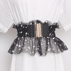 Fashion design sweet lace mesh gauze waist closure