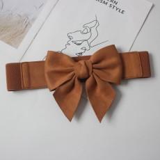 Sweet elastic elastic flannel three-dimensional bow tie waist belt