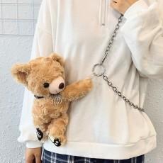 Teddy bear chain plush bag Korean version of the shoulder diagonal small bag