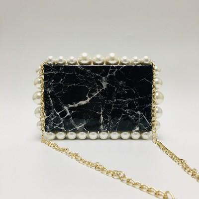 Marbling double-row pearl clutch bag chain bag