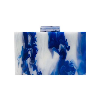 Acrylic pink orange oil painting small square box bag clutch