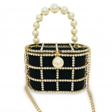 Velvet rhinestone pearl bird cage basket picture bag