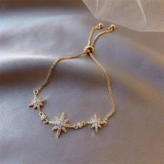 Adjustable micro diamond bracelet with lucky stars
