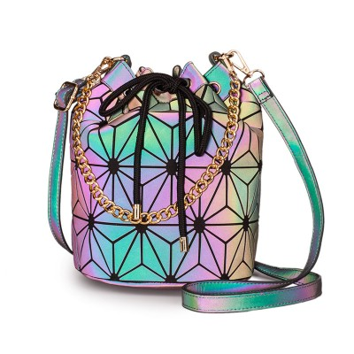 Casual luminous bucket bag rhombus women's shoulder bag